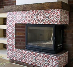 Mosaic tile decor for fireplace