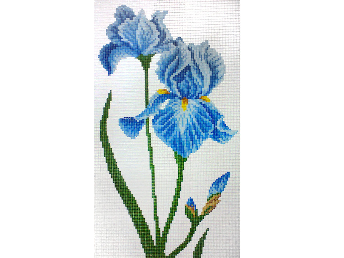 Mosaic tile design Iris flowers
